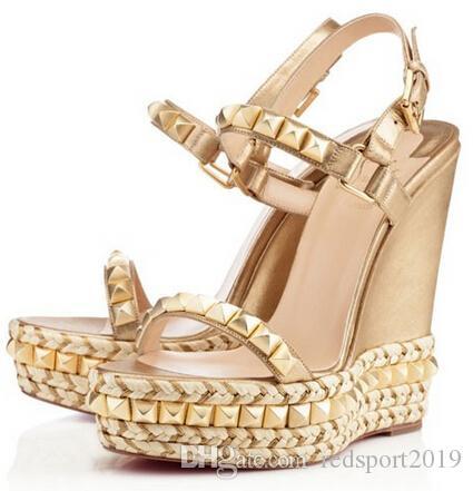 Yaz Moda kama sandalet Cataconico Buzağı Metalik Flatform Kırmızı Alt Takozlar Çiviler İnciler Lüks Tasarımcı seksi bayanlar Düğün