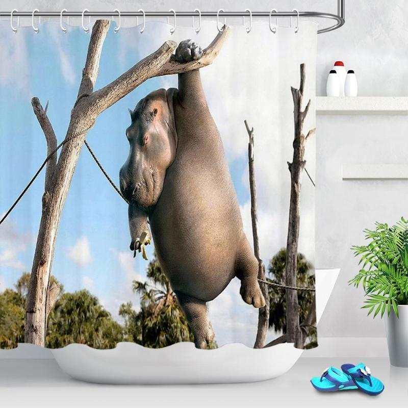 مضحك الحيوان فرس النهر دش الستار حمام شاشة أقمشة بوليستر عالية الجودة الحمام ستائر رائع محب ديكور