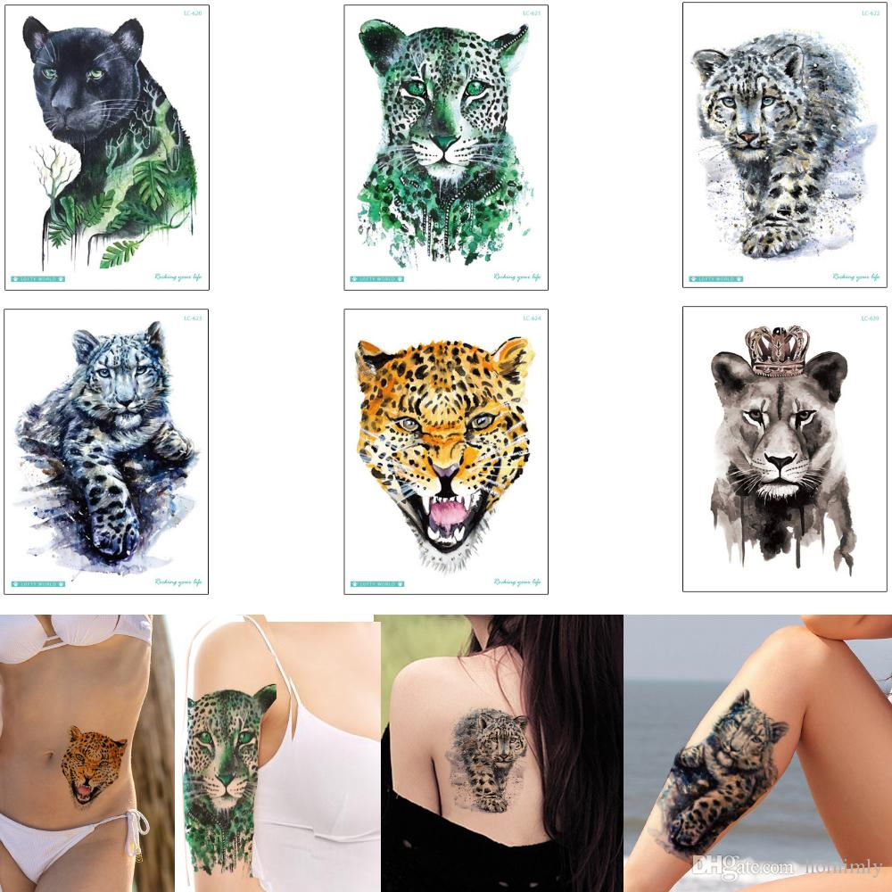 Watercolored Drawing Animal Leopard Tiger Decal Body Tattoo