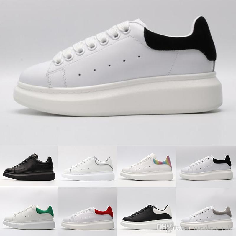Macqueen Chaud ACE noir blanc Queens marque mode luxe en cuir chaussures de sport pour fille femmes hommes noir or rouge gris confortable plat