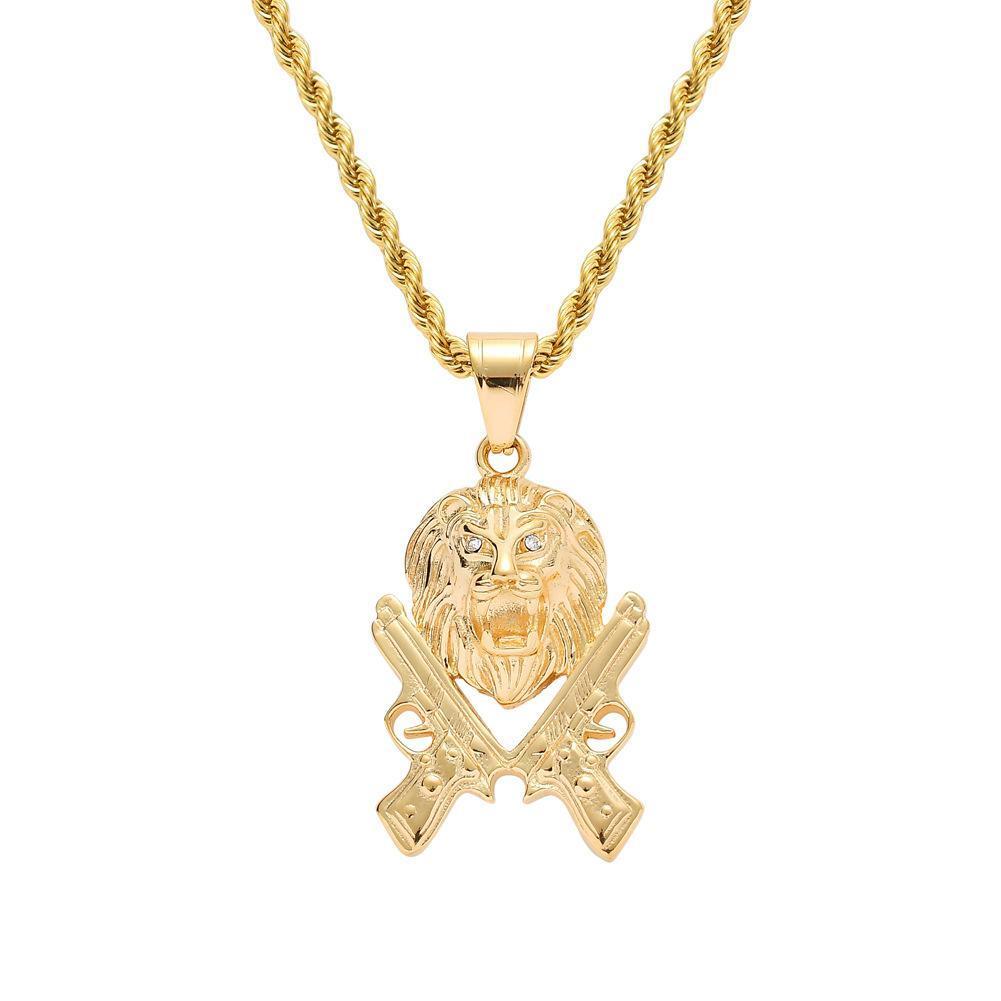 Colar da cabeça do leão Gun Aço Mens Hip Hop Jewelry Iced Out Leão de Ouro Gun Pingente inoxidável duplo
