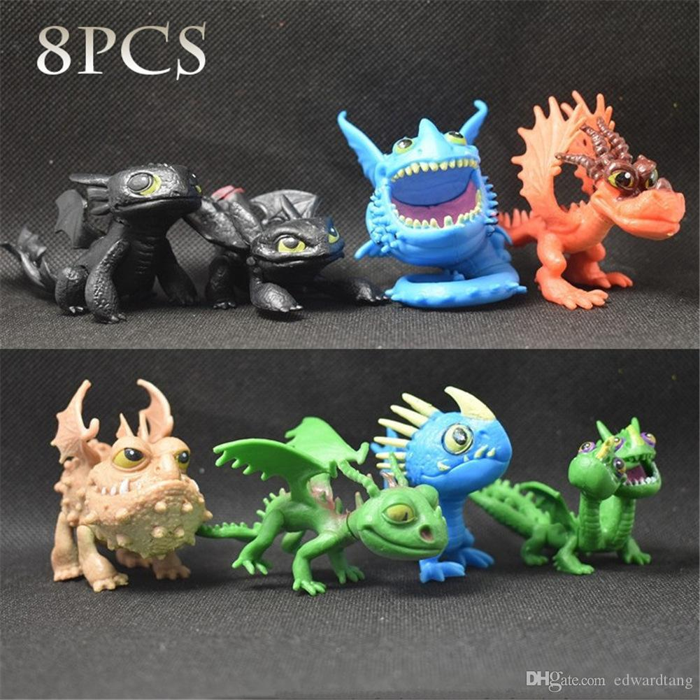 Lot 8 pcs How to Train Your Dragon Action Figures Night Fury Movie Toothless Toy
