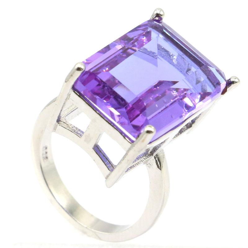 18x13mm Pretty Rectangle Shape 18x13mm Color Changing Alexandrite & Topaz Woman's Jewelry Making Silver Rings