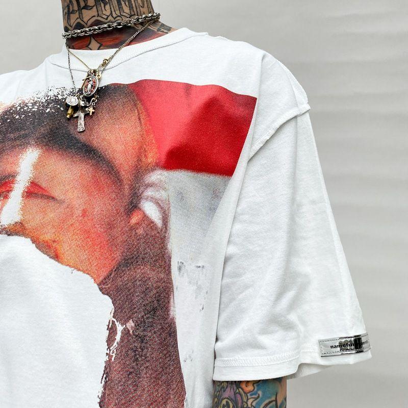 E-BAIHUI Mens Short-sleeved T-shirt Portrait Printing T-shirt Net Red High Street Tide Brand Hip-hop Loose Top