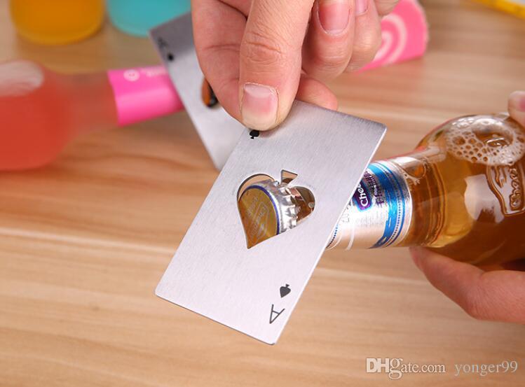 Cartão de Jogo de Poker à moda Ás de Espadas Ferramenta Bar Soda De Aço Inoxidável Tampa de Garrafa De Cerveja Abridor de Presente Por Atacado navio Livre