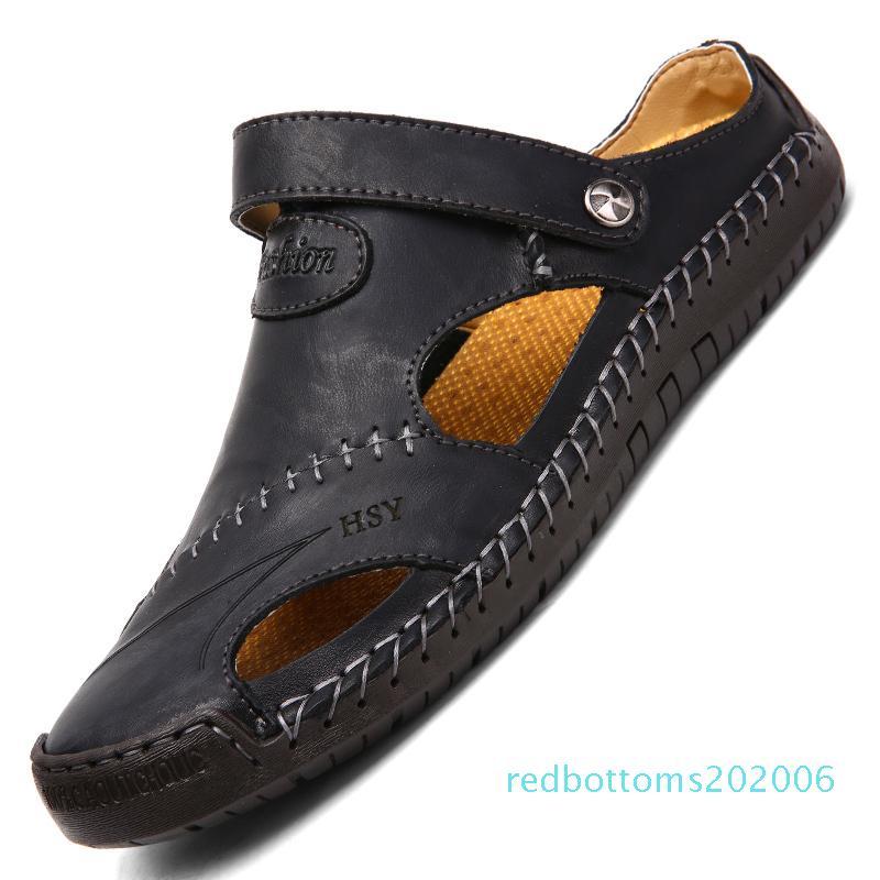 Hommes Sandales en cuir véritable été doux de Chaussures sandales de plage pour hommes haut Sandales qualité Chaussons Bohême Taille 38-48 Vente chaude