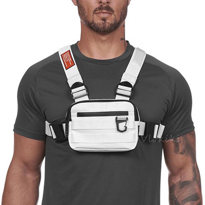 Pequeño pecho Rig Bolso de los hombres de moda al aire libre táctico Streetwear la correa del chaleco del pecho Bolsas para mujeres externa gancho ajustable de deporte Pocke G176
