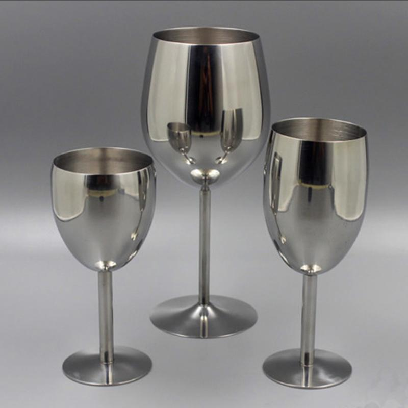 2Pcs Classical Wine Glasses Stainless Steel 18/8 Wineglass Bar Wine Glass Champagne Cocktail Drinking Cup Charms Party Supplies Y200107