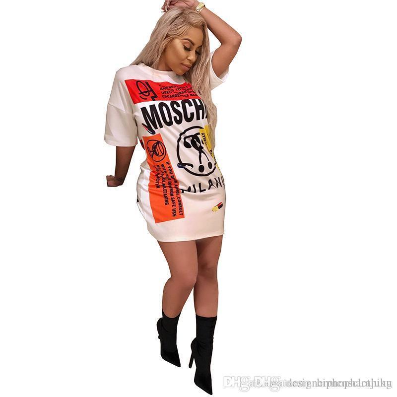 Mode Frauen Lange T-Shirts MO Doodle Printed Kleider Sexy O-Ansatz dünnen beiläufigen Mädchen-Kleidung der neuen Ankunfts