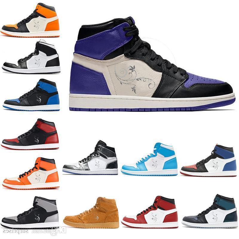 High Og 1 Top 3 Mens Scarpe da pallacanestro Court Purp Gold Bred Toe Chicago Banned Royal Blue Fragment Unc Frantumato Backboard Metallic Sneakers