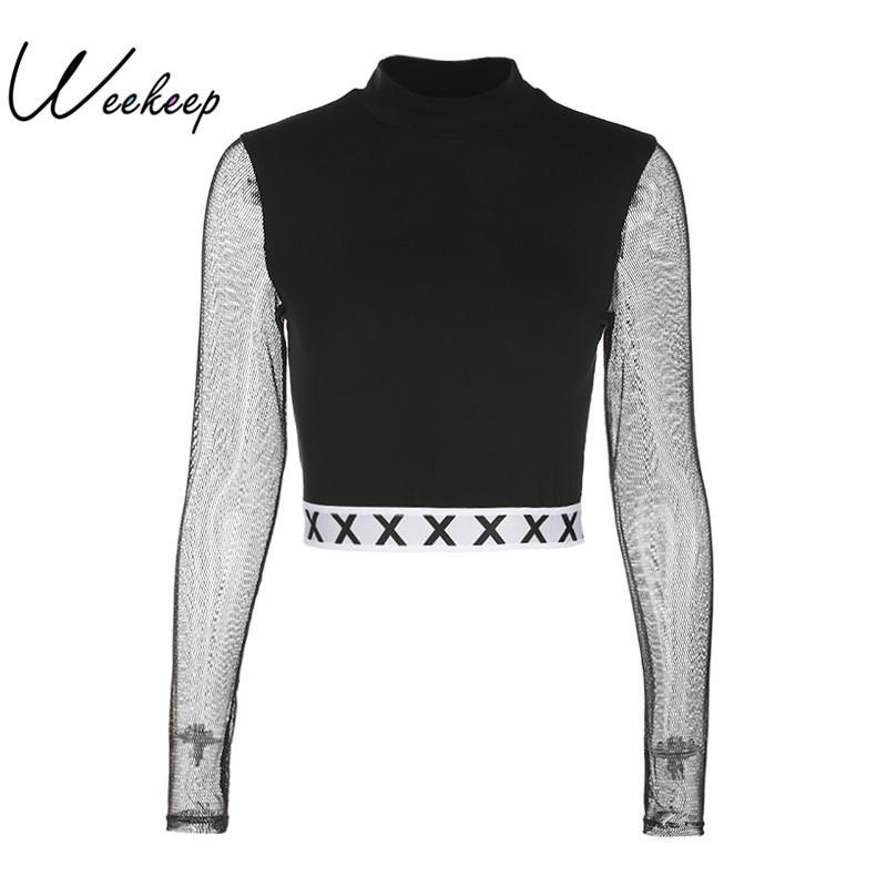 Weekeep 2017 Autumn Women Mesh Patchwork Sweatshirts Long Sleeve Fashion Casual Style Hoodies Black Crewneck Knitted Pullovers