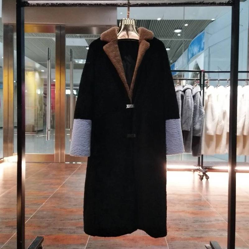 Cappotto invernale vestiti delle donne X-lungo 2019 nuovo marchio giacca naturale vera pelliccia di pecora vera pelle pelle cuciture colore caldo di spessore