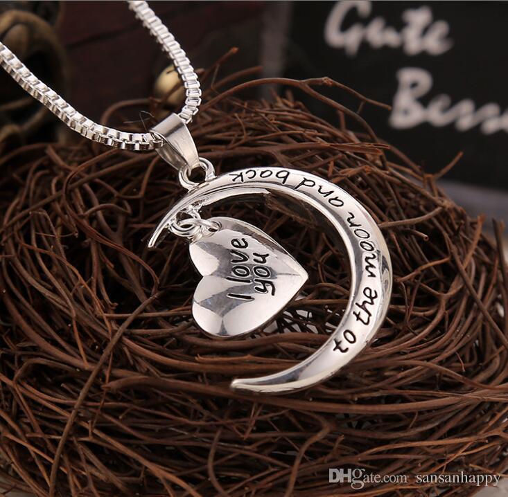 Ich liebe dich bis zum Mond und zurück Anhänger Halskette Hochwertige Herz Schmuck Mutter Tag Geschenk Großhandel Modeschmuck