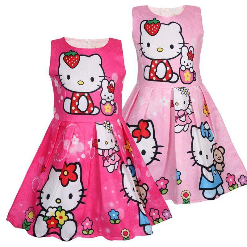 Grey//Pink Bow Print Hello Kitty Cap Sleeve Dress for Girls