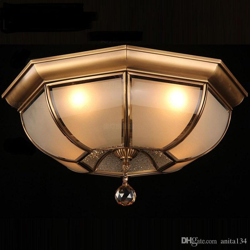 Luxury Copper Ceiling Lighting For Living Room Post Modern Crystal Decorated Gold Lights Ceiling Lamp For Home Vestibule Veranda Small Chandelier Chandelier Fan From Anita134 204 39 Dhgate Com