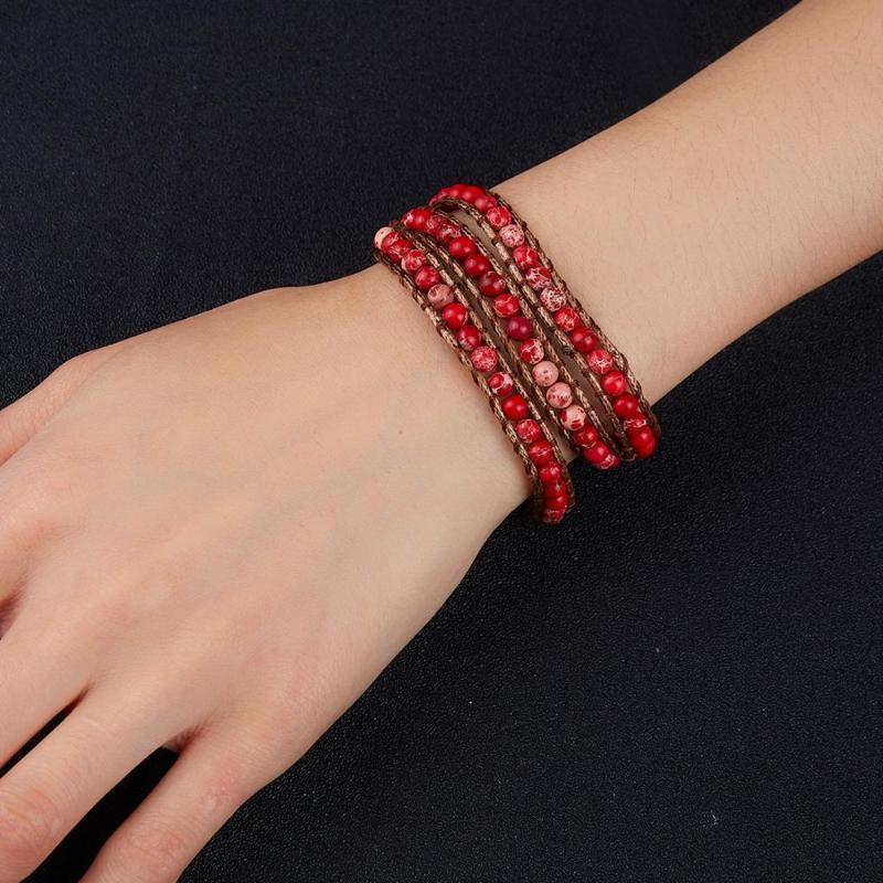 Três camadas Multi-color Imperador Pulseira Pedra com sete Chakras Mão-tecidos Knot ajustável Pulseira ajustável