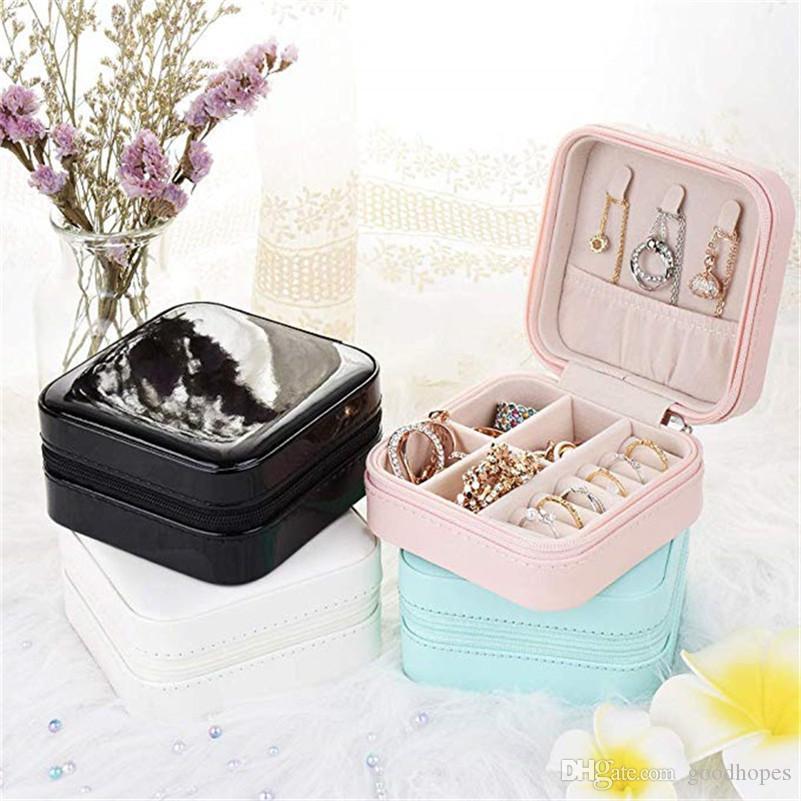 Caixa de armazenamento de exibição de organizador de jóias de viagem para brincos de colar anéis pequenos case de presente
