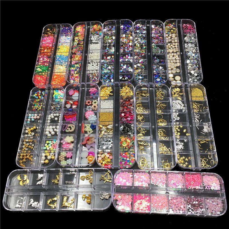 12 projetos de decoração de unhas de metal rebites coloridos unhas de strass pérolas diy manicure unhas enfeites de jóias body art