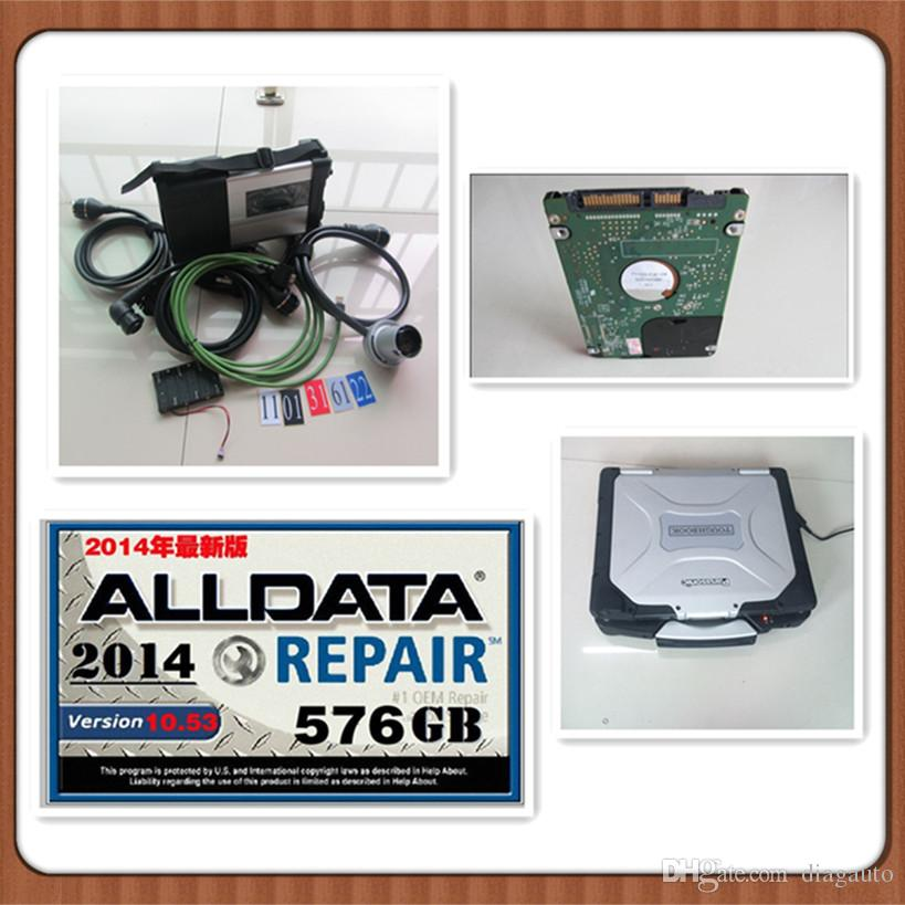 Best quality MB Star C5 SD Connect Diagnostic tool with HDD 1tb (mb sd c5 and alldata V10.53 soft-ware) install in cf30 laptop