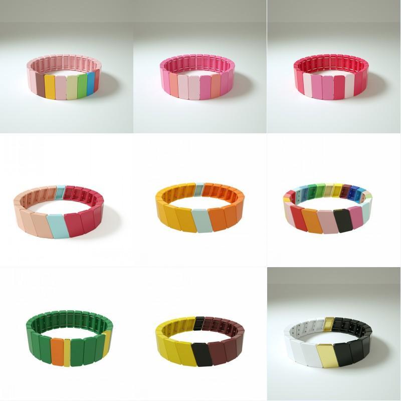 Free DHL Tile Bracelets Rainbow Enamel Tile Beads Stretch Bracelet Colorful Enamel Mosaic Block Beaded Letter Bangle Bracelet X5FZ