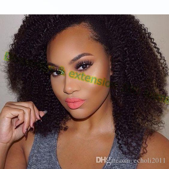 H Afro crespo ricci merletto anteriore parrucche malesi del Virgin capelli umani Glueless completa parrucche con candeggiati Nodi dei capelli del bambino delle donne di colore per