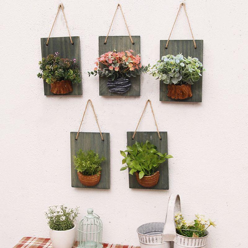 나무 보드 시뮬레이션 꽃 식물 벽 장식 미국의 패션 크리 에이 티브 거실 벽 가짜 꽃 벽 장식