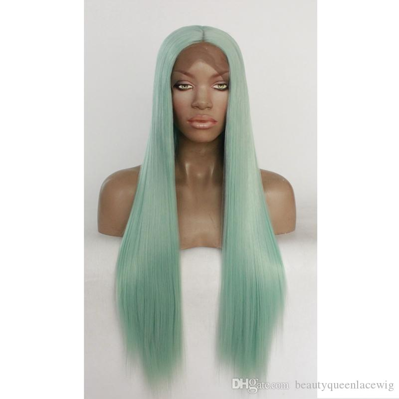 New Fashion Mint Green Lace Front Wig Middle Parting Silky Straight Long Fiber Hair Heat Reaiatant Cospaly Party Wig For Women