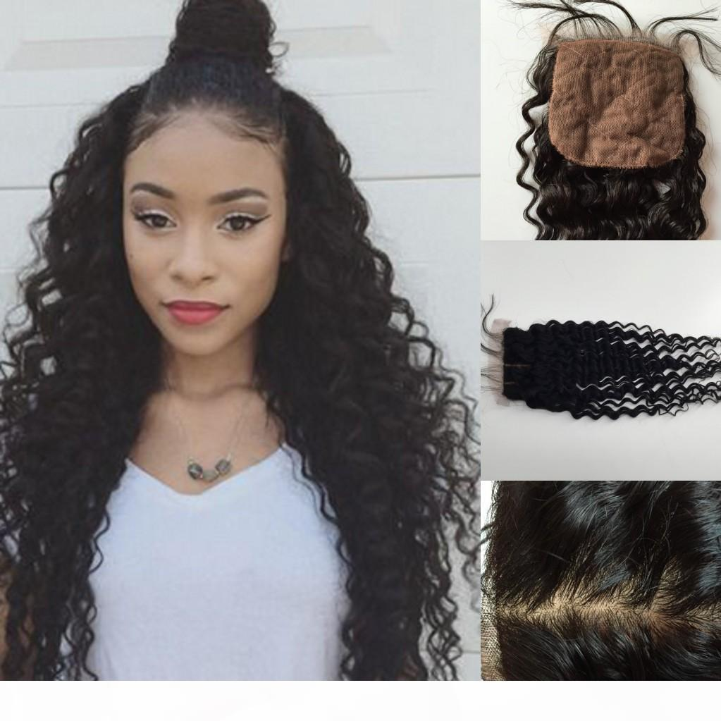 Sheap Brazilian deep wave Silk Base Closure 4x4 Virgin Human Hair Free Middle 3 Part Silk Top Closure
