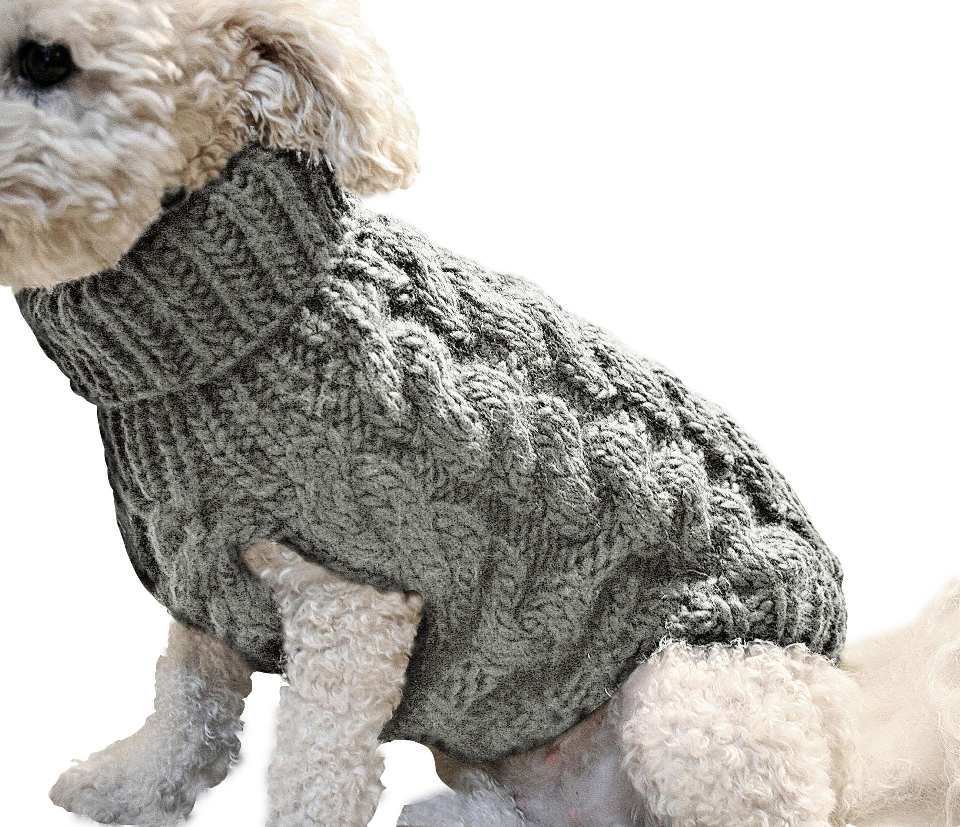 Top Quality Cute Pet Vest Supplies Knitted Jumper Sweater Winter Warm Puppy Clothes Coats pullover dog Apparel Gray Color