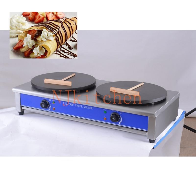 Commercial Double têtes Crêpe Français machine 110v 220v électrique Waffle Pancake Maker Pan Grill Fer Plaque de cuisson