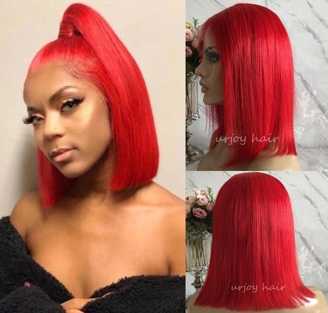 Perruques de célébrités Bob Cut Cut Dentelle Front Perruques Silky Droite Rouge Couleur 10A Grade Vierge Chinese Cheveux Humains Full Dentelle Perruques Livraison Gratuite
