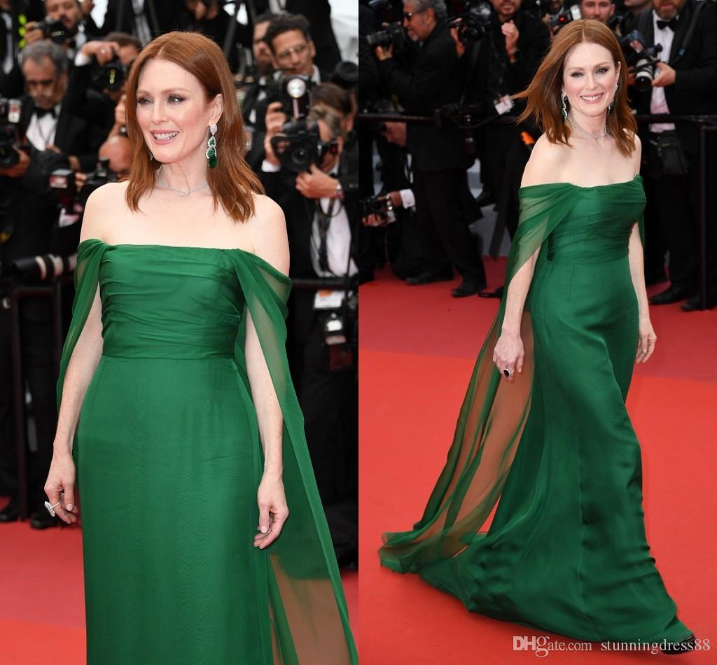 Hunter Green Cannes Film Festival Red Carpet Evening Dresses Off the shoulder Chiffon Ruched Long Cheap Prom Pageant Celebrity Dress