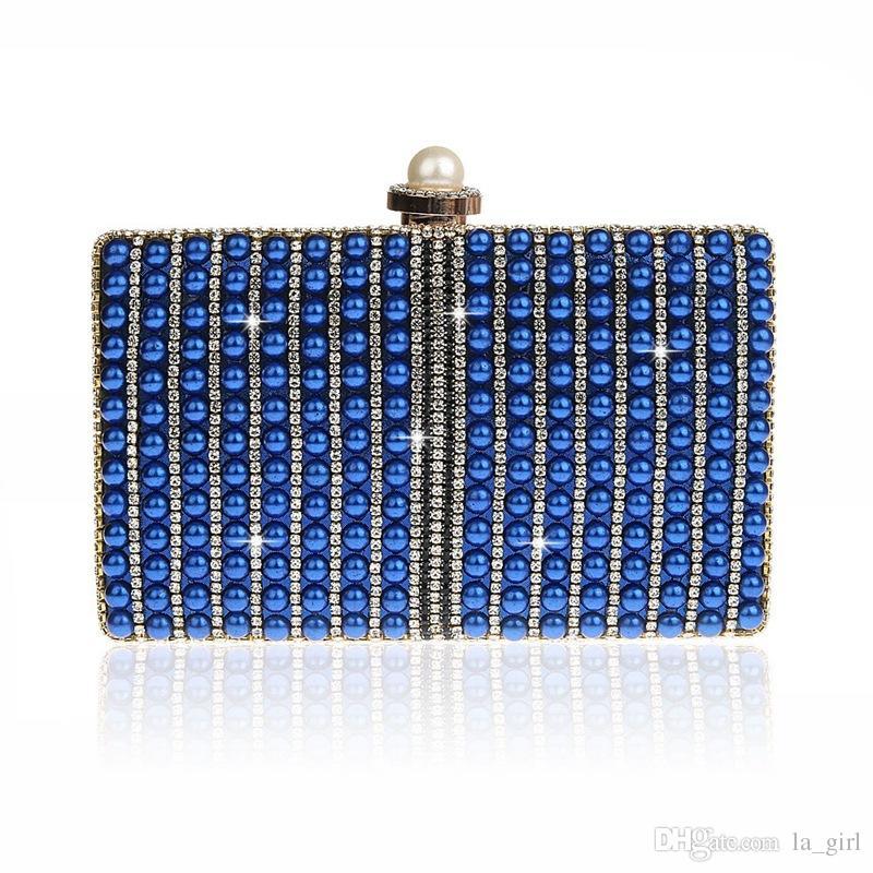 Fashion Portable Cosmetic Bags Lipstick Eye Shadows Makeup Bag Imitation Pearls Purse For Wedding Party Beaded Crystal Handbag