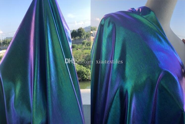 Laser Mirage Blue Purple Leather pu mesh fabric dress diy home textiles patch wedding tweed mannequin dance fabric telas por metro C576