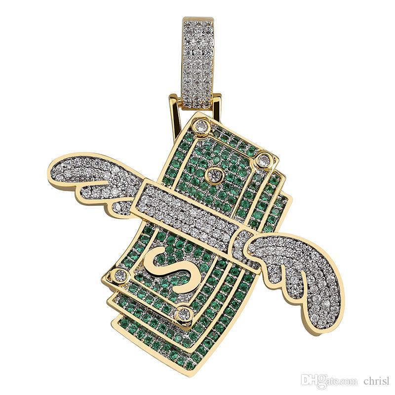 New Money cubique Zircon Glacé chaîne volant de trésorerie Hip Hop bijoux collier pendentif Colliers pour homme Cadeaux Femmes