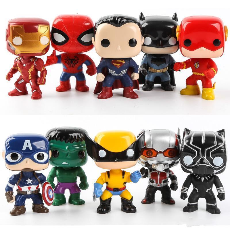 FUNKO POP 10pcs / set DC Justice Action Figures Liga Marvel Avengers súper héroe Caracteres Capitán figuras de acción de juguete para niños