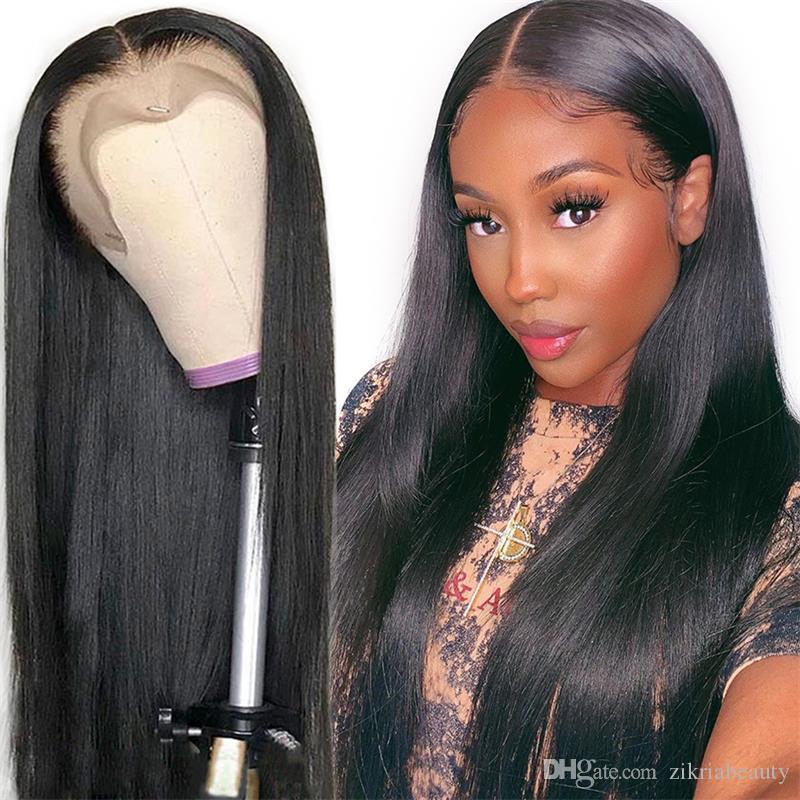 Верхнее качество шелковистые прямые необработанные бразильские девственные прямые парики волос парики фронта шнурка полный парик человеческих волос шнурка Glueless отсутствие линять