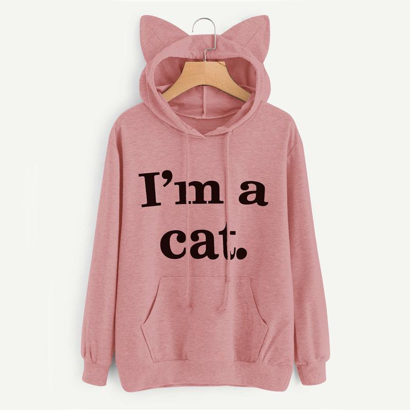 Designer camisola das mulheres Roupa Mulheres capuz Hoodies letra da cópia Orelhas de gato Outono Primavera com capuz Moda camisola fêmeas 100% Silk