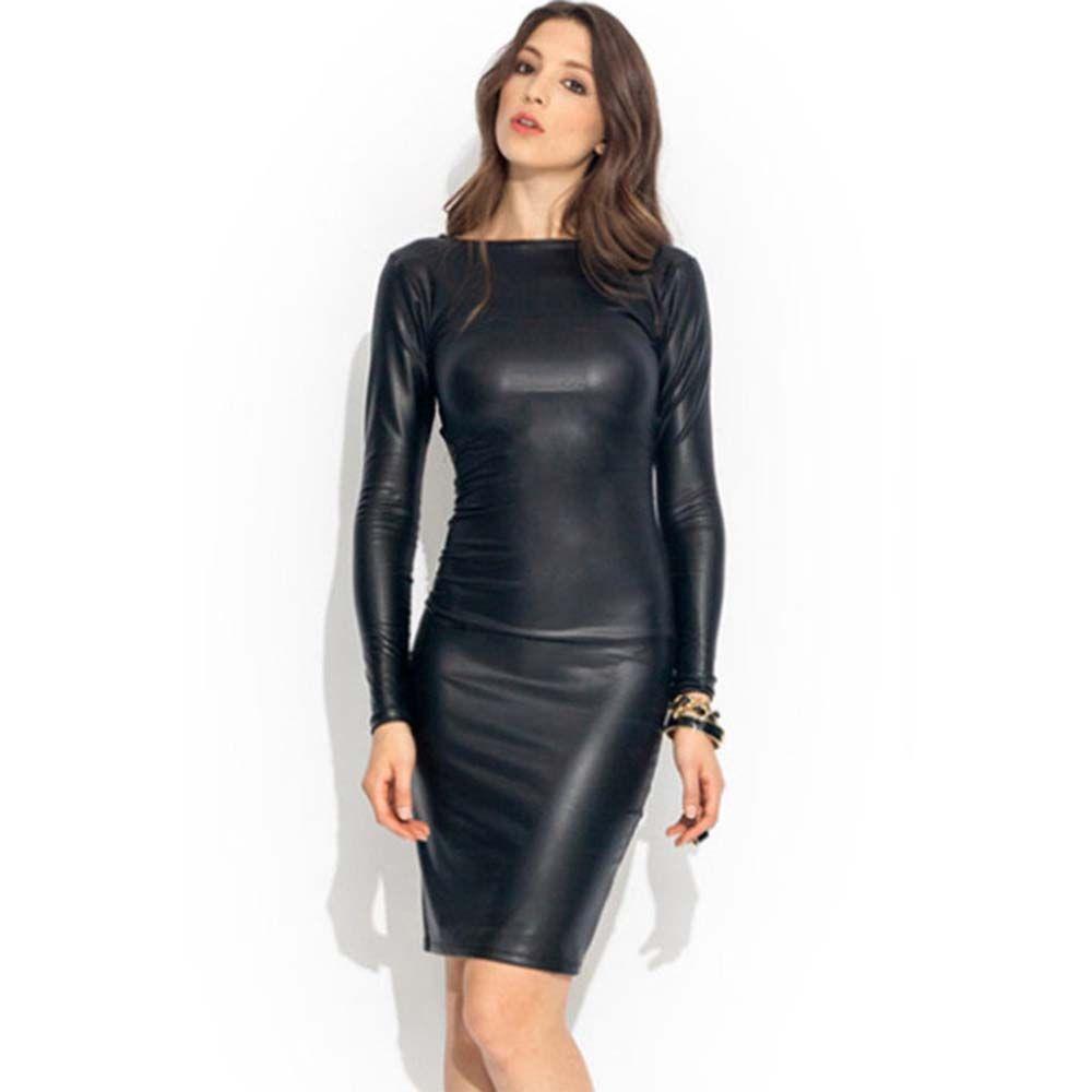 Kunstleder-Kleid Frauen-elegantes Lederimitat Schlankheits-Bleistift-Kleid-Partei F0435 Schwarz Langarm-S-2XL