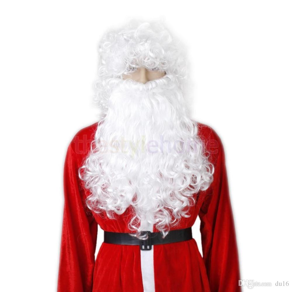 CHRISTMAS SANTA CLAUS COSTUME ACCESSORY BEARD & WIG SET COOL DECOR NEW Heat Resistant Hair queen Cosplay hair wigs Free deliver