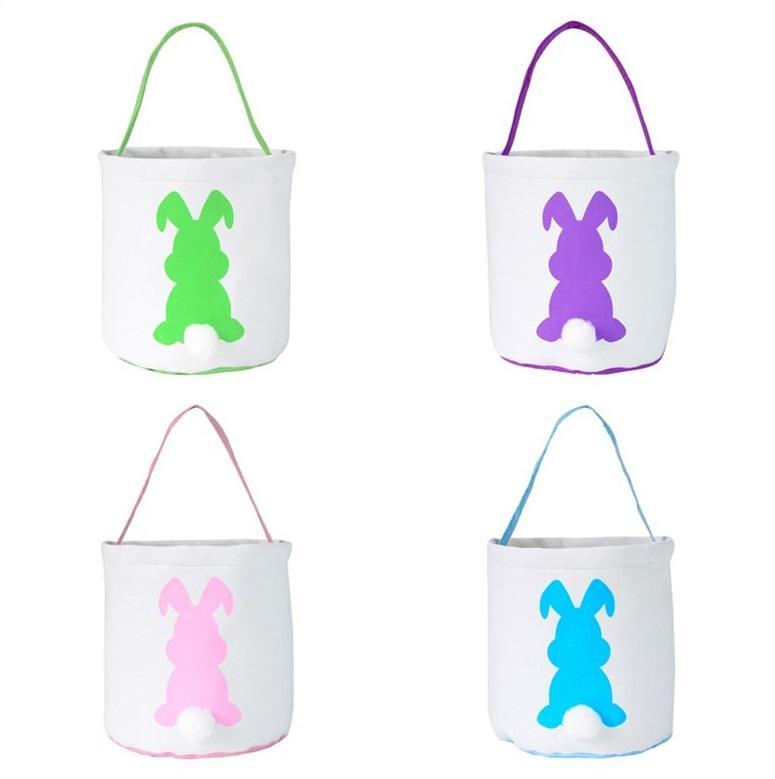 Orejas de conejo nueva Pascua de la cesta del color de la mezcla de la lona de la cesta de conejo Pascua oídos bolsas para niños de cubo regalo de la historieta huevos carring conejo bolsa WCW830