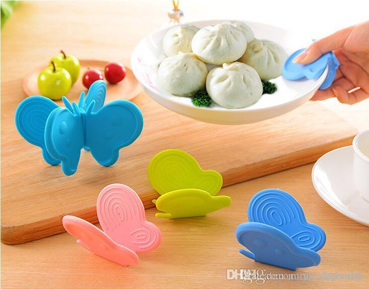 Schmetterling Form Silikon Pot Clamp Halter Hitzebeständige Handschuhe Schale Clip Clip Anti Verbrühen Küche Werkzeug kühlschrankmagnet Multi Farbe