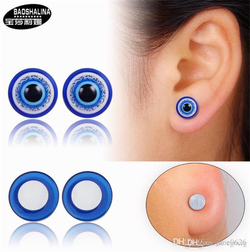 Blue Eye Stud Earrings without Pierced Earrings Unisex Eyes Shape Ear Stud Healthy Magnetic Therapy Earrings 12mm 10mm 8mm 6mm No Piercing