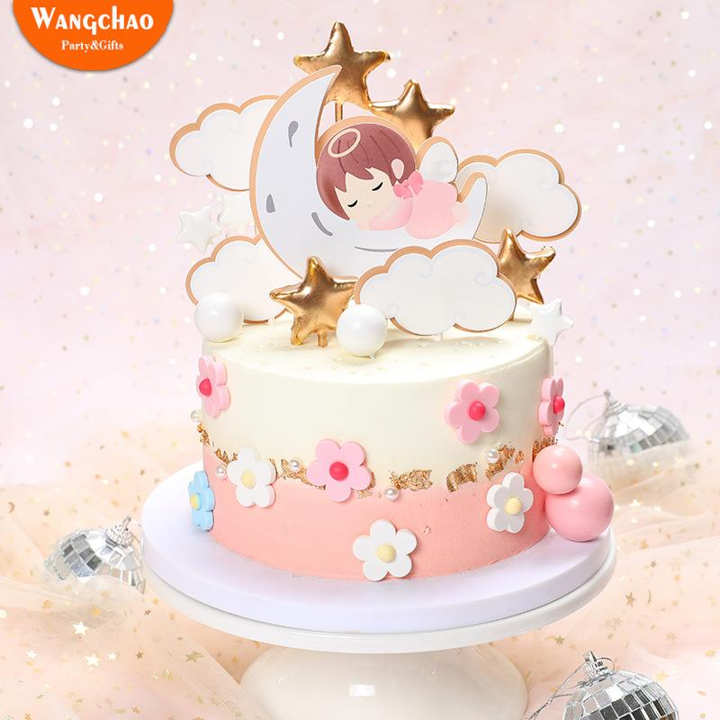 1 Set Angel Moon Stars Baby's Theme 1st Birthday Cake Topper One Cake Decoration Baby Shower kids Party Supplies