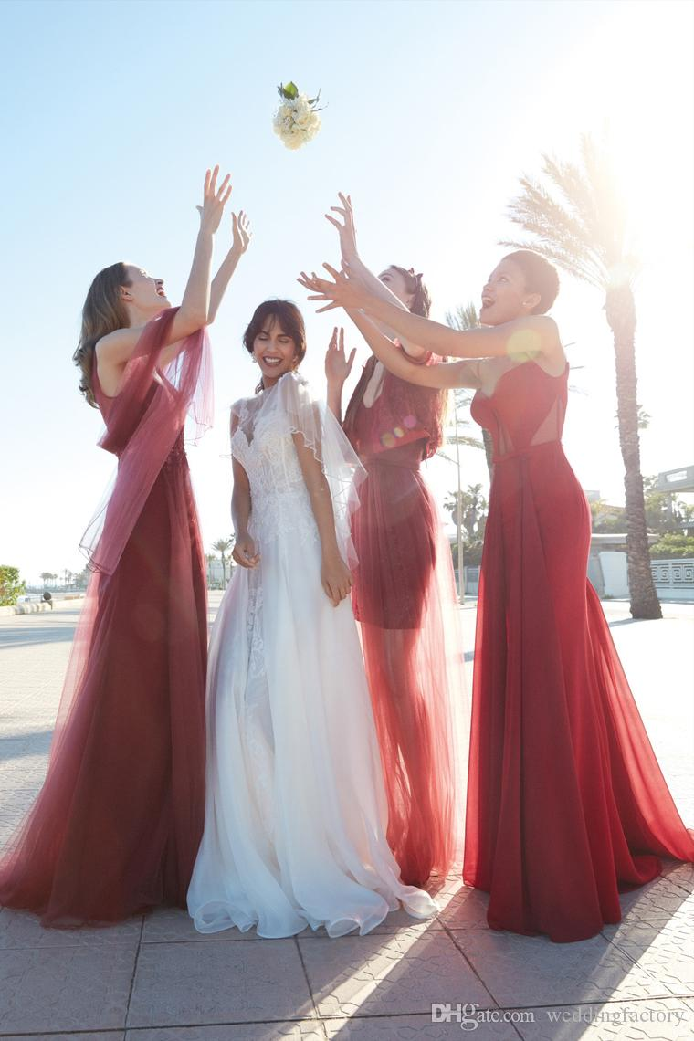 2020 Newest Design Wine Red Burgundy Bridesmaid Dresses Different Styles Shiny Beaded Lace Appliqued Tulle Maid of Honor Dresses