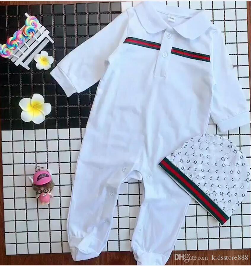 2019 Primavera europea Baby bianco e blu scuro a maniche lunghe in cotone pezzo Pagliaccetto vestiti rampicanti per neonati e ragazze Set pagliaccetto