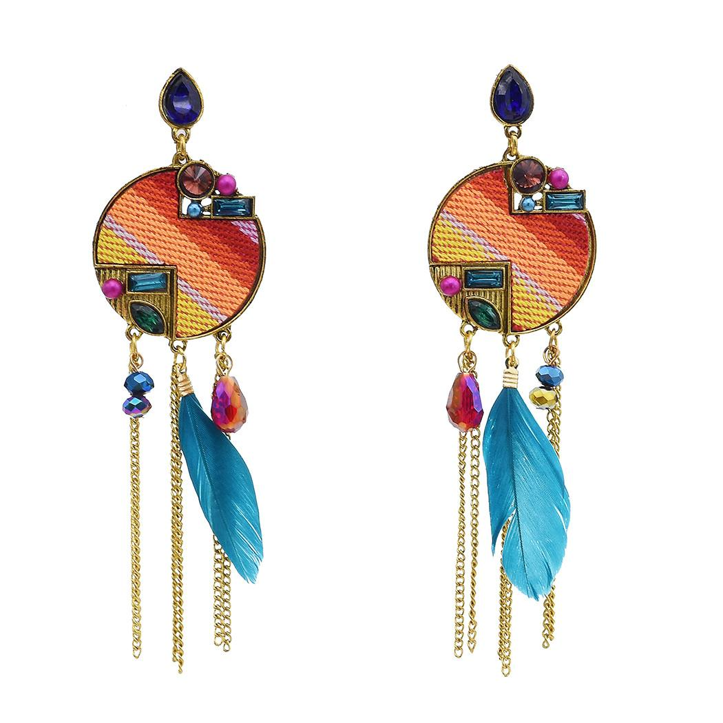 Bohemian Retro with Colorful Rhinestone Feather Long Tassel Earrings for Women Gift Party Jewelry