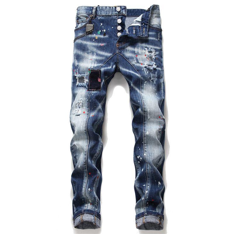 Unique Men Embroidery Ripped Skinny Jeans Fashion Designer Slim Fit Washed Motocycle Men's Denim Pants Panelled Hip Hop Biker Trousers 1050