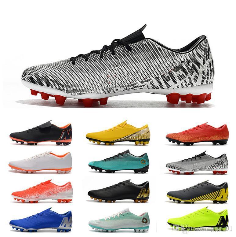 2019 Low Heel Vapors 12 Academy CR7 AG-R Men's Soccer Shoes Neymar Ronaldo Outdoor Soccer Cleats World Cup Men Football Shoes Football Boots