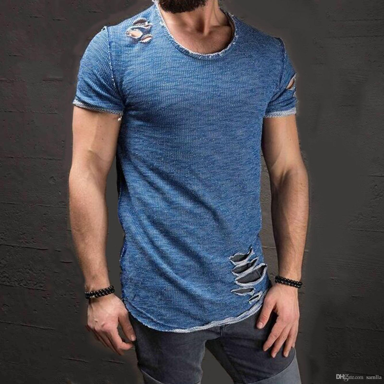 UK Men Slim Fit V Neck Short Sleeve Muscle Tee T-shirt Casual Tops  Shirts